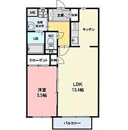 長野県小諸市大字平原の賃貸アパートの間取り