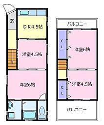 [一戸建] 大阪府松原市上田8丁目 の賃貸【/】の間取り