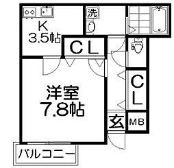 グランドソレイユ香里園[2階]の間取り