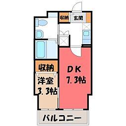 栃木県宇都宮市下栗町の賃貸マンションの間取り