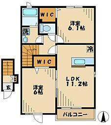 京王相模原線 京王多摩センター駅 バス8分 浅間下下車 徒歩1分の賃貸アパート 2階2LDKの間取り