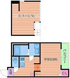 JR大阪環状線 大阪城公園駅 徒歩10分の賃貸アパート 1階1Kの間取り