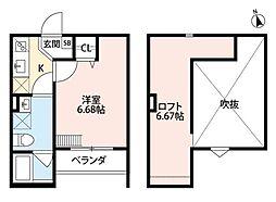 Grande Mare 堺東(グランマーレサカイヒガシ) 2階ワンルームの間取り