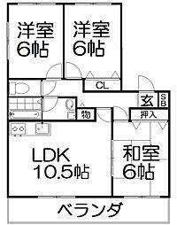 田口山ハイツB棟[2階]の間取り