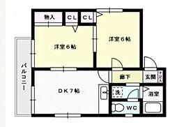 福岡県福岡市西区愛宕南2丁目の賃貸アパートの間取り