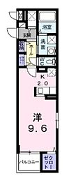 南海高野線 北野田駅 徒歩8分の賃貸マンション 4階1Kの間取り