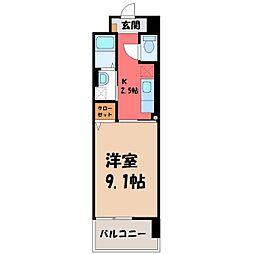 栃木県宇都宮市西川田本町2の賃貸マンションの間取り