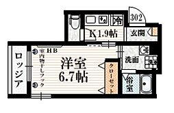 小田急小田原線 豪徳寺駅 徒歩4分の賃貸マンション 3階1Kの間取り