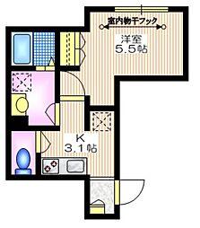 東急田園都市線 池尻大橋駅 徒歩6分の賃貸マンション 1階1Kの間取り