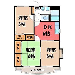 栃木県栃木市平柳町1丁目の賃貸マンションの間取り