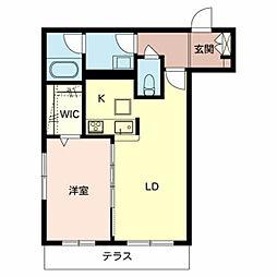 シャーメゾン Hana 1階1LDKの間取り