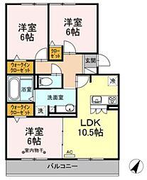 JR御殿場線 御殿場駅 徒歩33分の賃貸アパート 2階3LDKの間取り