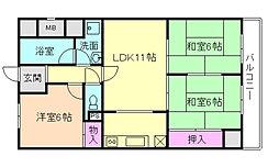 フローラ桜塚[1階]の間取り