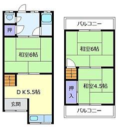 [テラスハウス] 大阪府松原市北新町5丁目 の賃貸【/】の間取り