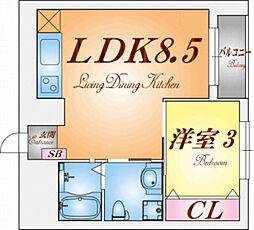 三國クリエート板宿[8階]の間取り