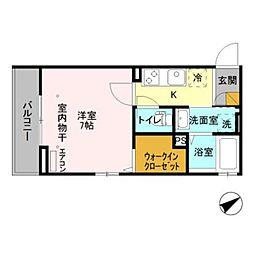 仮)D-room新井 2階1Kの間取り