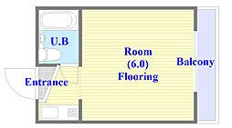 ルネッサンスシャレード 6階ワンルームの間取り