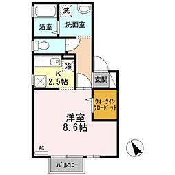 愛知県岡崎市西大友町字諏訪の賃貸アパートの間取り