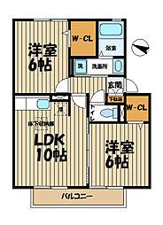 神奈川県鎌倉市寺分1丁目の賃貸アパートの間取り