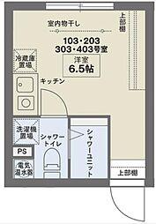京王線 笹塚駅 徒歩10分の賃貸マンション 1階ワンルームの間取り