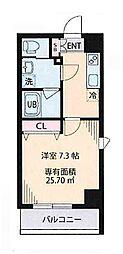 都営大江戸線 森下駅 徒歩8分の賃貸マンション 4階1Kの間取り