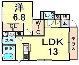 エーデルハイム甲子園 1階1LDKの間取り
