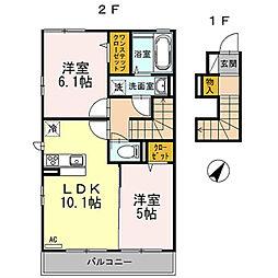 神奈川県川崎市麻生区片平5丁目の賃貸アパートの間取り