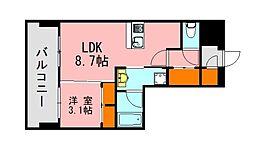 西鉄天神大牟田線 西鉄平尾駅 徒歩13分の賃貸マンション 10階1LDKの間取り