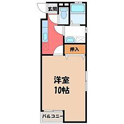 栃木県宇都宮市戸祭町の賃貸マンションの間取り