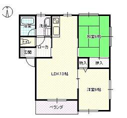 新潟県新発田市新栄町1丁目の賃貸アパートの間取り