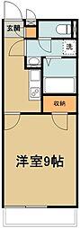 西武新宿線 南大塚駅 徒歩22分の賃貸マンション 2階1Kの間取り
