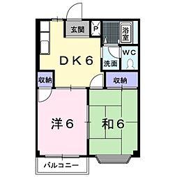 愛知県田原市赤石4丁目の賃貸アパートの間取り
