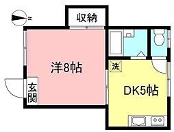 インペリアルハイム 1階1DKの間取り