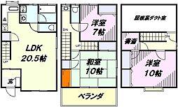[タウンハウス] 埼玉県所沢市中新井3丁目 の賃貸【/】の間取り