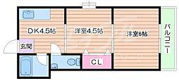 コーポ三原[2階]の間取り