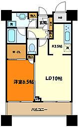 東急東横線 武蔵小杉駅 徒歩1分の賃貸マンション 13階1LDKの間取り