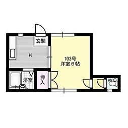 福岡県福岡市中央区谷1丁目の賃貸マンションの間取り