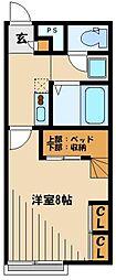JR川越線 高麗川駅 徒歩19分の賃貸アパート 2階1Kの間取り