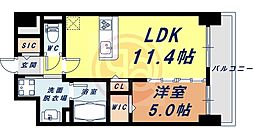Osaka Metro四つ橋線 花園町駅 徒歩13分の賃貸マンション 9階1LDKの間取り