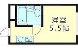 エクラ関目ウエスト 3階ワンルームの間取り