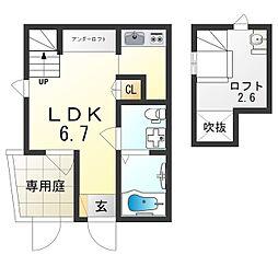 JR東海道・山陽本線 塚本駅 徒歩17分の賃貸アパート 1階1Kの間取り