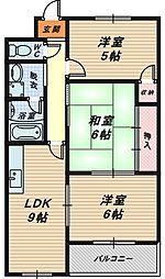 アンメゾン北花田[3階]の間取り