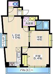 東京メトロ南北線 白金高輪駅 徒歩6分の賃貸マンション 4階2LDKの間取り