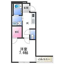 Osaka Metro四つ橋線 北加賀屋駅 徒歩10分の賃貸アパート 3階1Kの間取り
