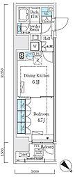 リビオメゾン大崎 9階1DKの間取り