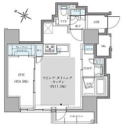 福岡市地下鉄空港線 赤坂駅 徒歩11分の賃貸マンション 11階1LDKの間取り