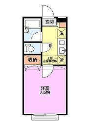 シャレー富塚町A棟 2階1Kの間取り