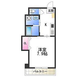 Osaka Metro四つ橋線 花園町駅 徒歩5分の賃貸マンション 2階1Kの間取り
