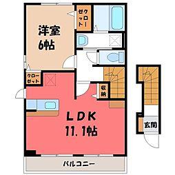 栃木県宇都宮市ゆいの杜3丁目の賃貸アパートの間取り