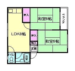 リバーハイツ岩田[3階]の間取り